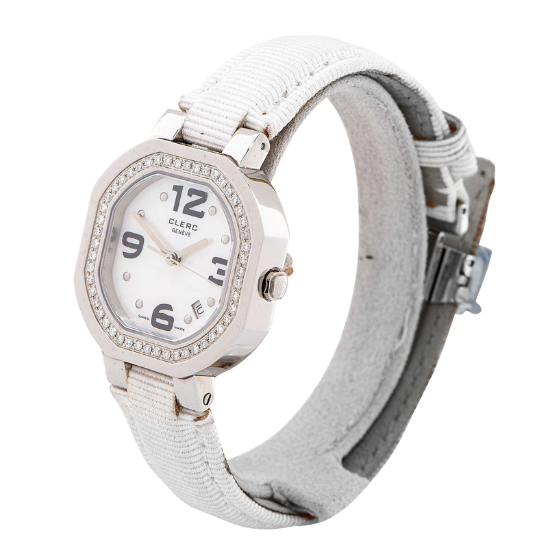 Clerc Ladies Stainless Steel Mother-of-Pearl Dial Diamond Bezel Wristwatch With White Leather Strap