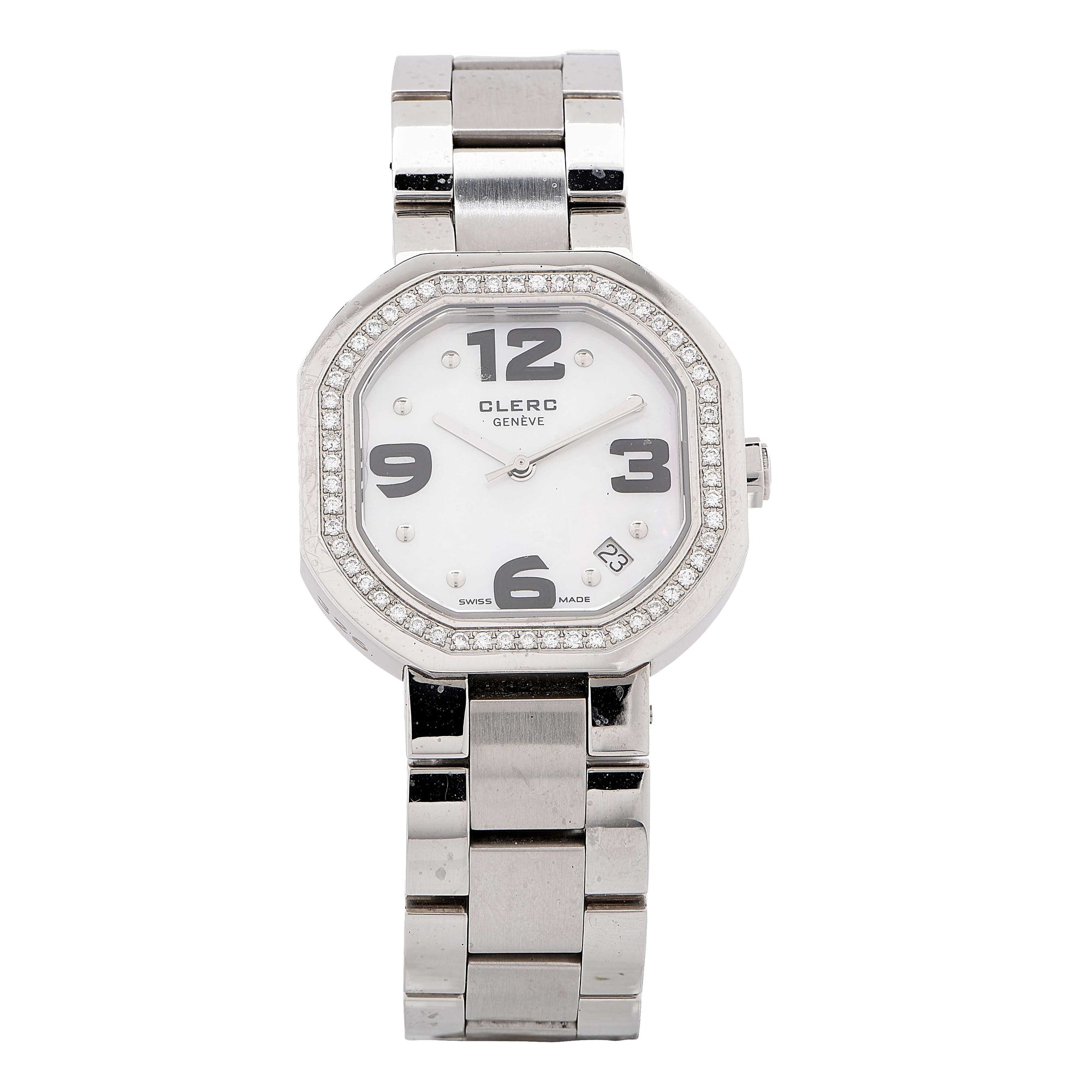 Clerc Iadies Stainless Steel Mother-of-Pearl Dial Diamond Bezel Wristwatch