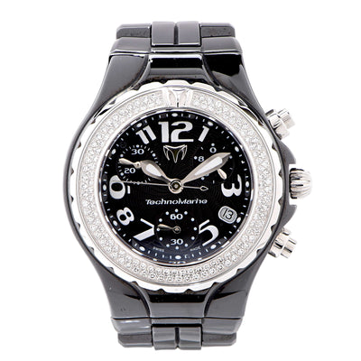 Technomarine Ladies black ceramic Diamond Bezel Wristwatch Ref DTCB02C