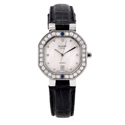 Clerc Ladies Stainless Steel Mother-of-Pearl Dial Diamond Bezel Wristwatch With Black Leather Strap