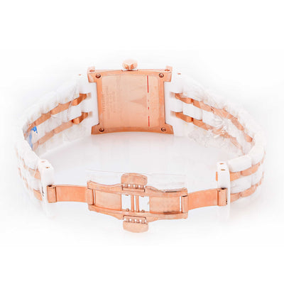 Technomarine Ladies Rose Gold White Ceramic Diamonds Mini Square Wristwatch