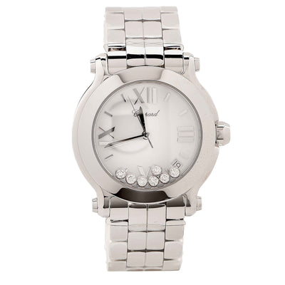New Chopard Ladies Stainless Steel Happy Sport Quartz Wristwatch