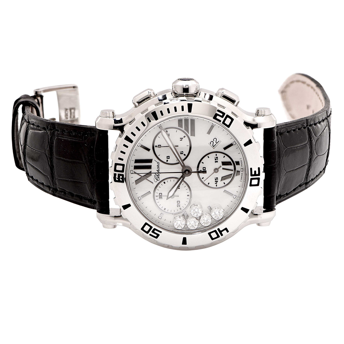 New Chopard Stainless Steel Happy Sport Chronograph Quartz Wristwatch