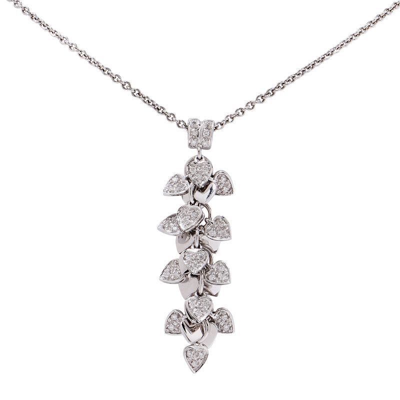 Diamond Hearts White Gold Necklace
