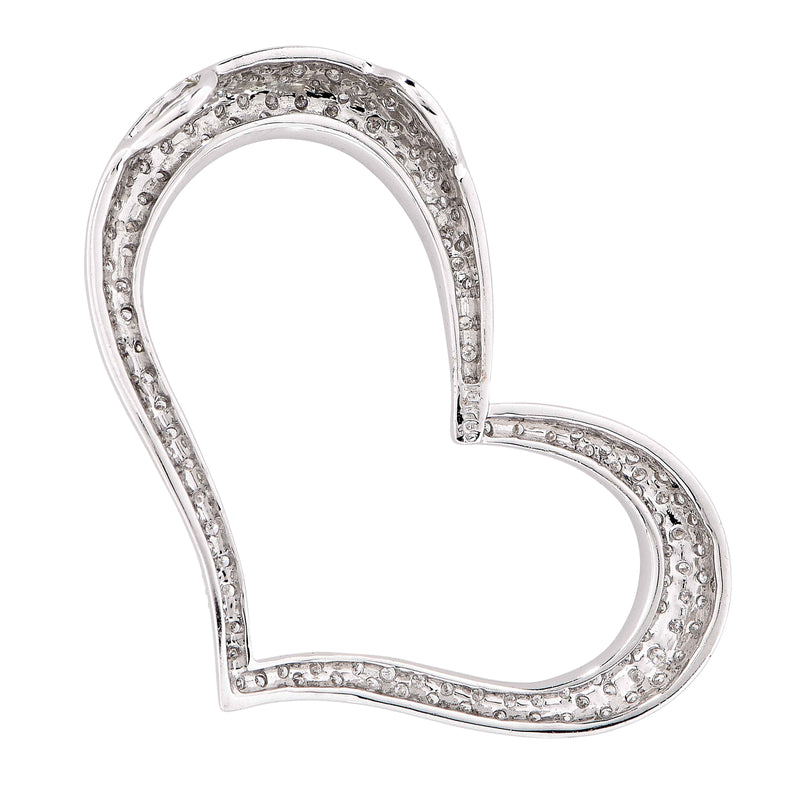 Large 1.04 Carat Diamond White Gold Heart Pendant