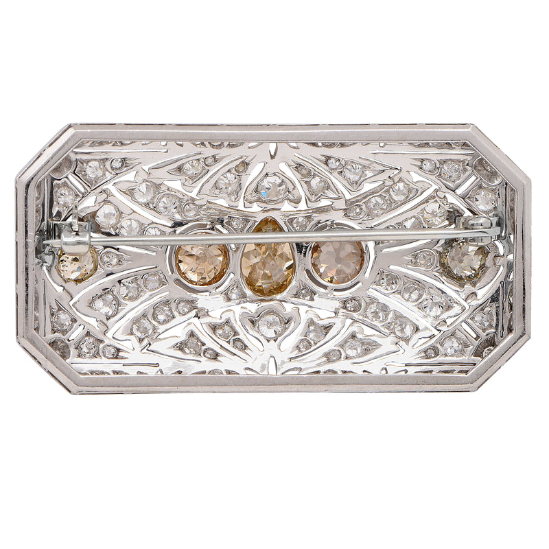 Art Deco Fancy Colored Diamond Platinum Brooch