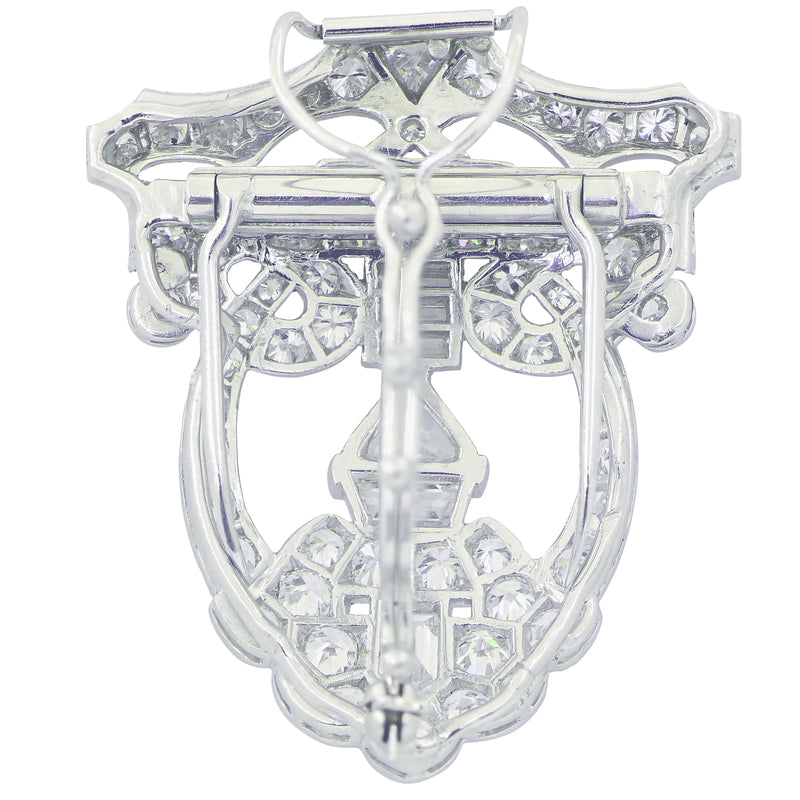 Art Deco 7 Carat Diamond Shield Motif Clip or Brooch in Platinum, circa 1920