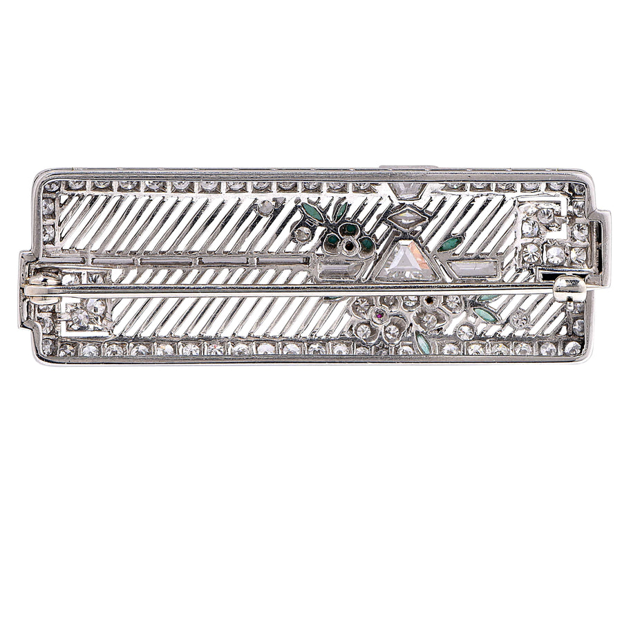 Art Deco Diamond Platinum Gem Brooch