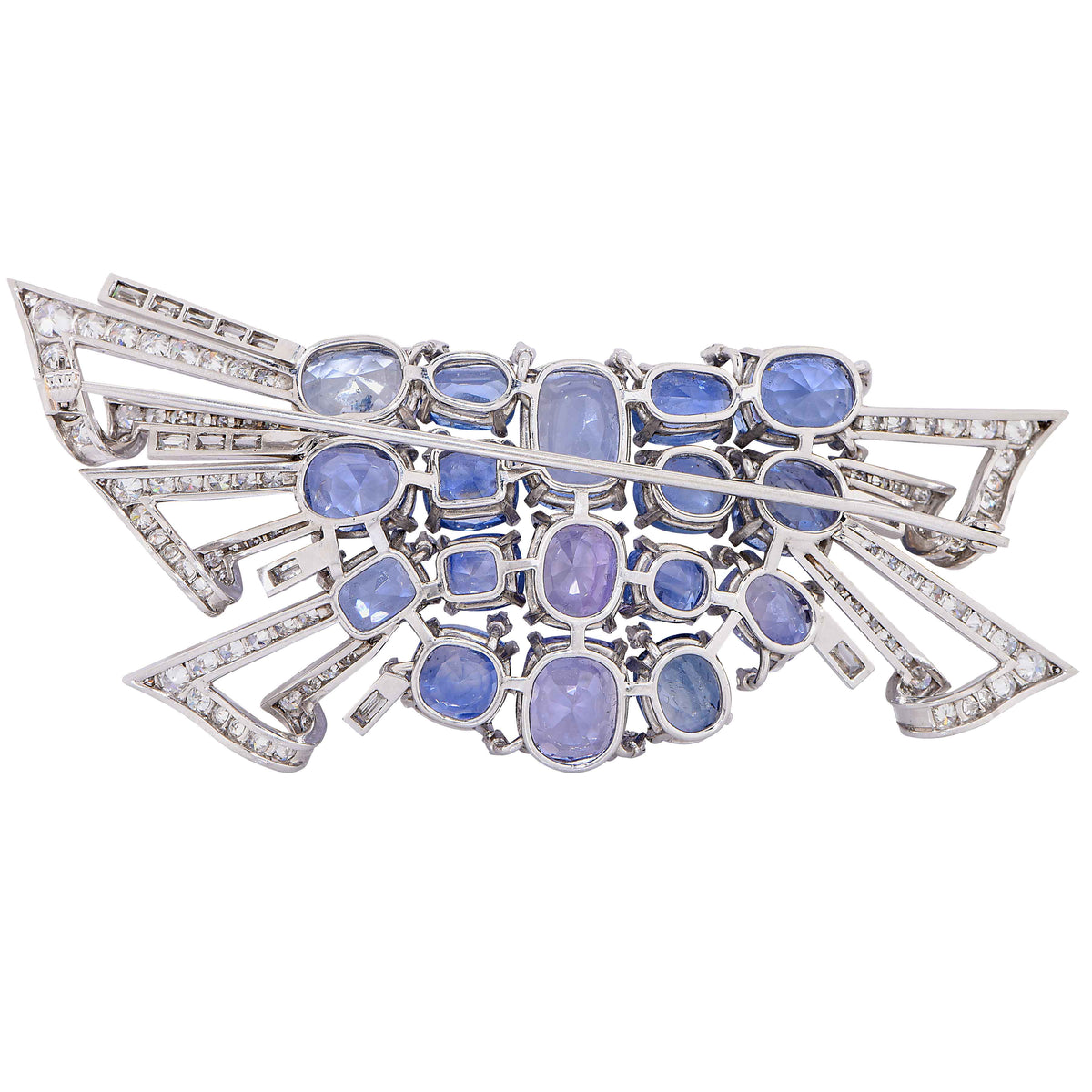 Midcentury Design Blue and Purple Sapphire and Diamond Platinum Brooch