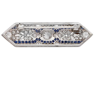 Art Deco 2.10 Carat Diamond and Sapphire Platinum Brooch