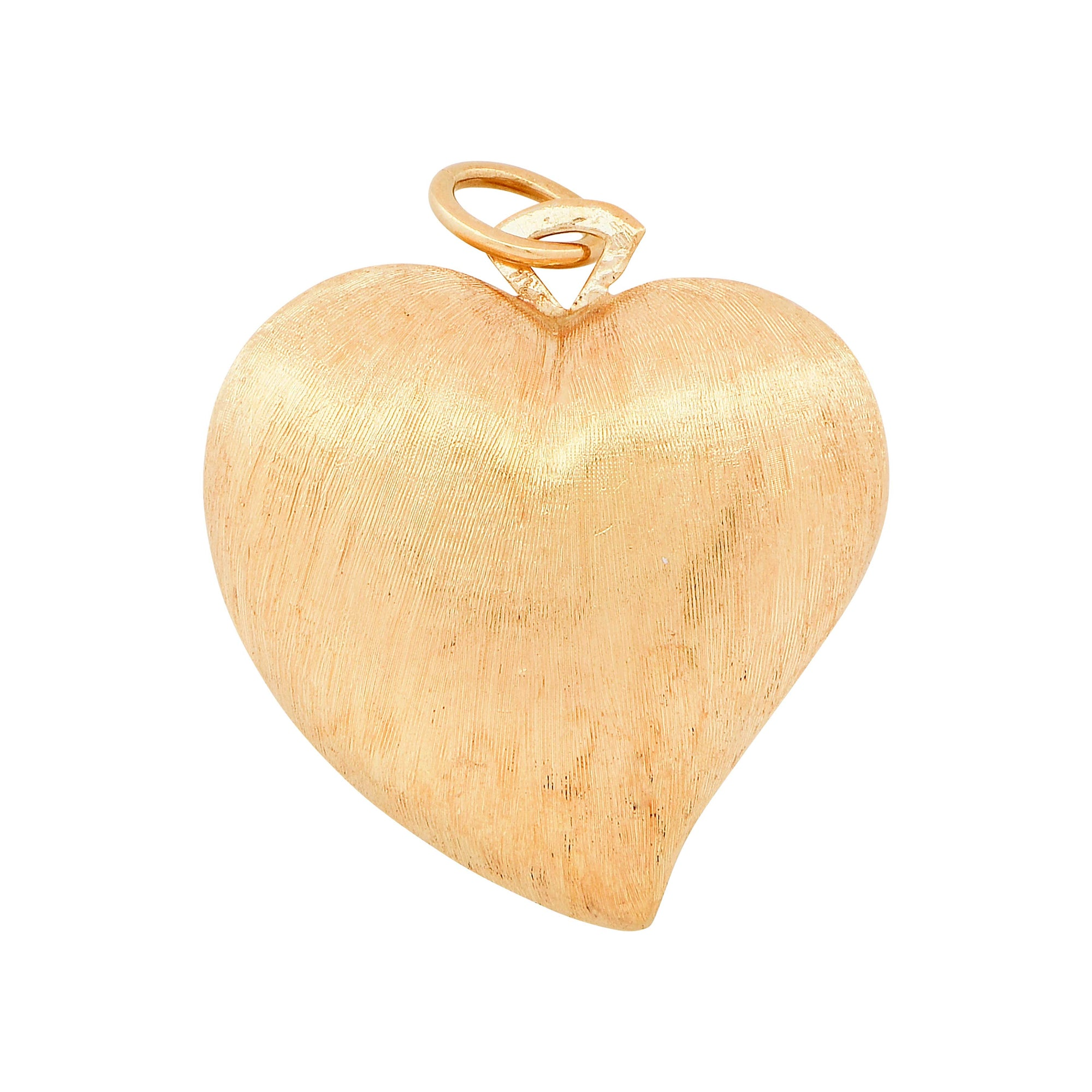 Brushed  18 Karat Yellow Gold Heart Shape Pendant