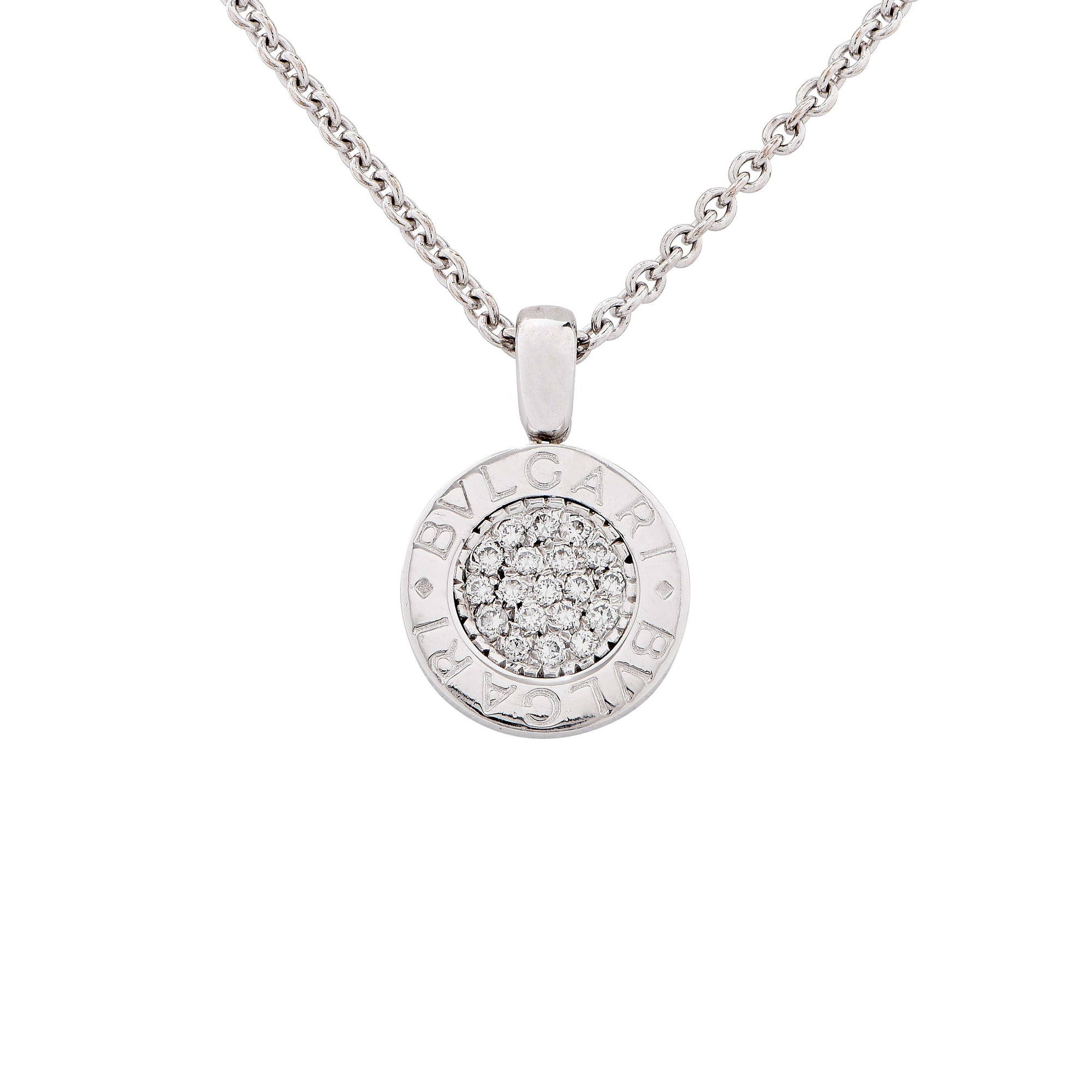 Small Bulgari Bvlgari Diamond White Gold Pendant