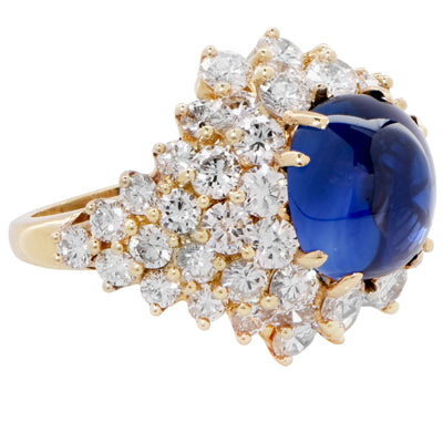 Kurt Wayne 9.8 Carat Natural Cabochon Sapphire Diamond Gold Ring