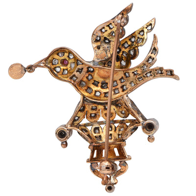 Victorian Bird Brooch with Rose Cut Diamonds Set in Silver-Topped Gold