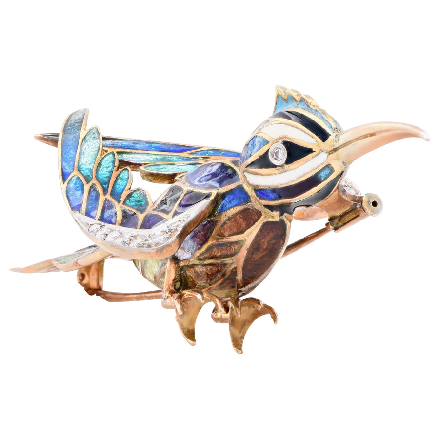 Vintage Enamel and Diamond Bird Brooch