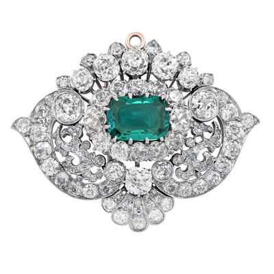Exceptional Tiffany & Co., circa 1880 Emerald Diamond Pearl Necklace