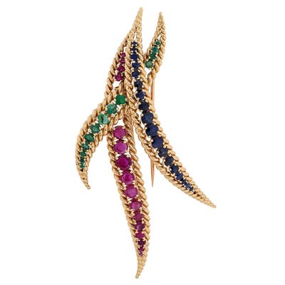 1980s Large Mauboussin Ruby Sapphire Emerald Yellow Gold Brooch