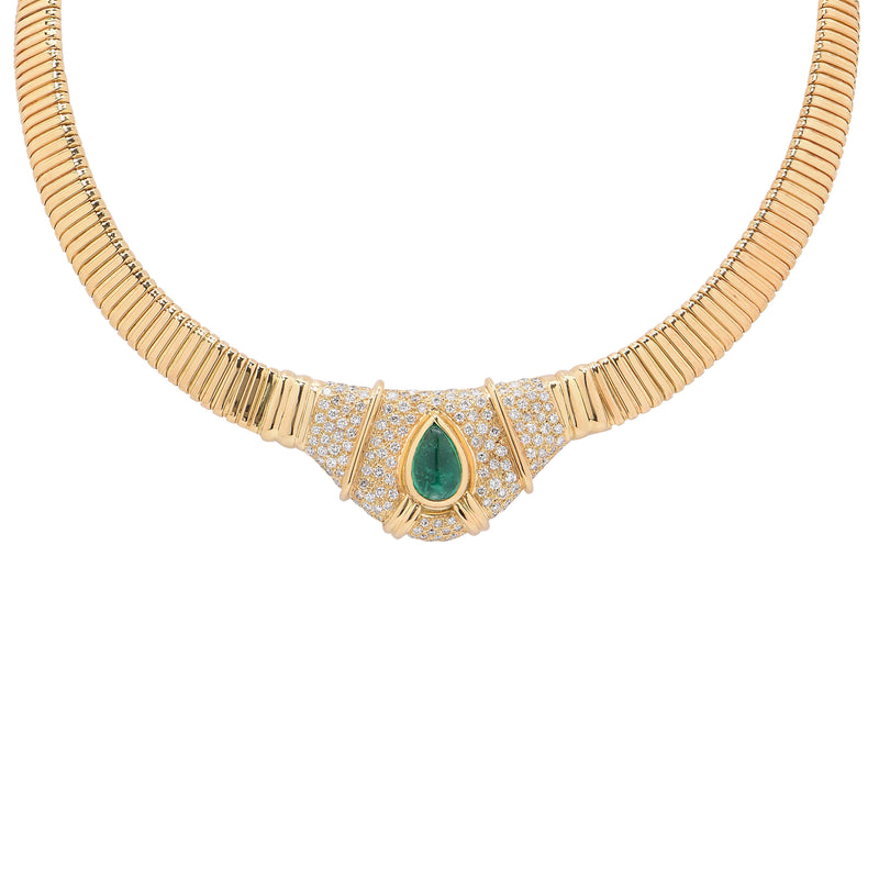 3 Carat Natural Cabochon Drop Emerald Diamond Gold Tubogas Necklace