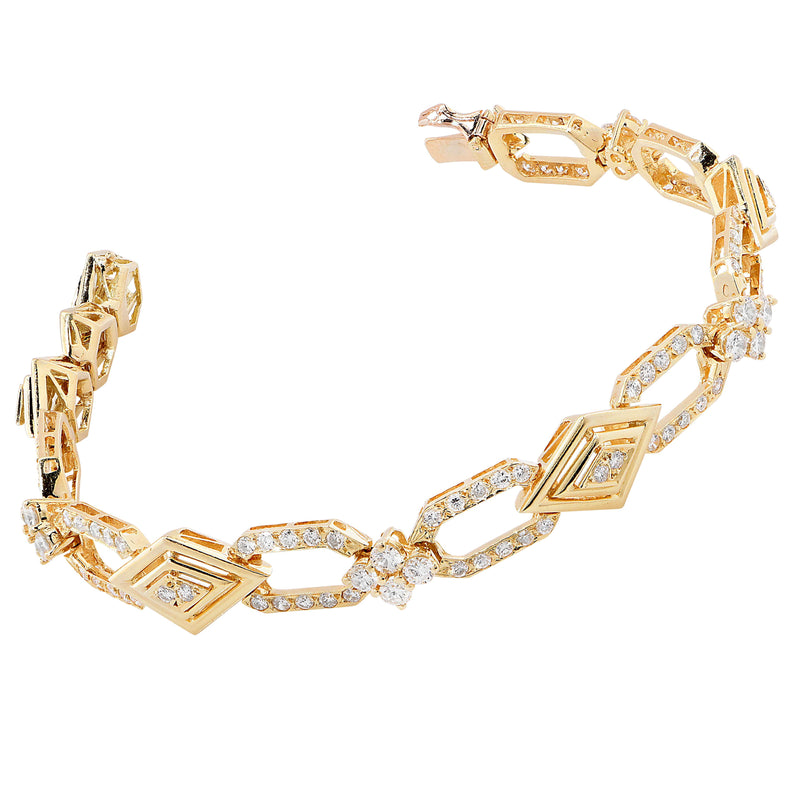 4 Carat Diamond French 18 Karat Yellow Gold Bracelet