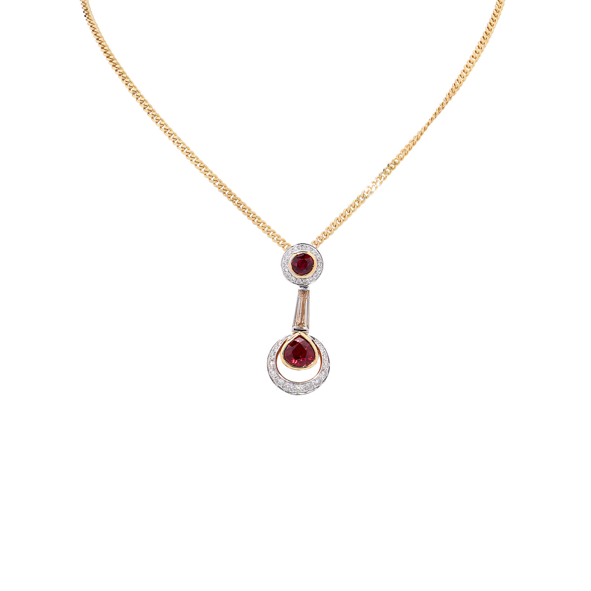 Ruby and Diamond 18 Karat Yellow and White Gold Pendant