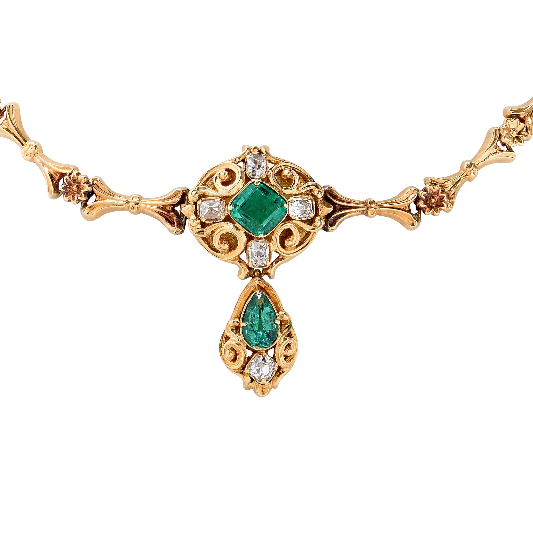 emerald gn necklace regent baguette products gold and antique circa cu diamond