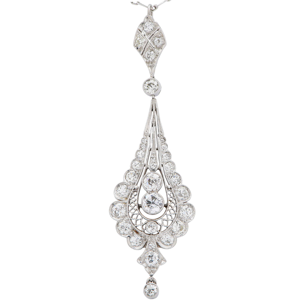 Edwardian 2 Carat Diamond Platinum Pendant Necklace