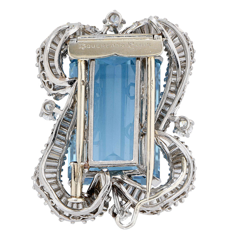 Boucheron Paris 32.5 Ct. Rectangular Cut Aquamarine and Diamond Platinum Brooch