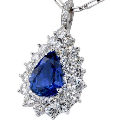 Galt 4 Carat AGL Graded Ceylon No Heat Pear Shape Sapphire and Diamond Pendant