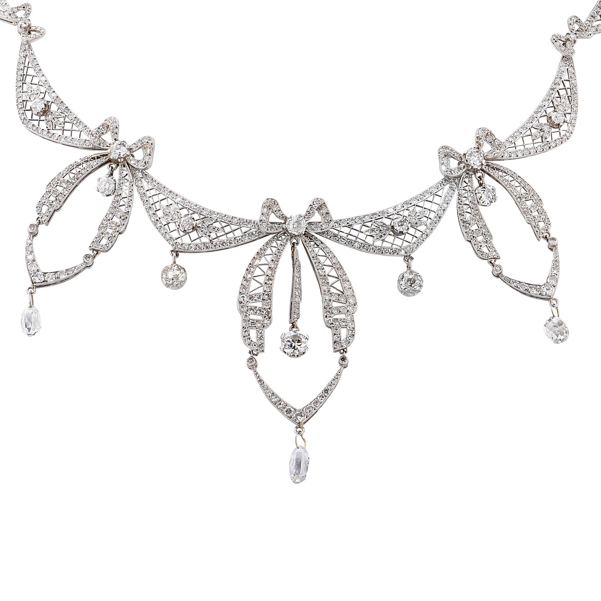 5.8 Carat Belle Époque Diamond Platinum Necklace