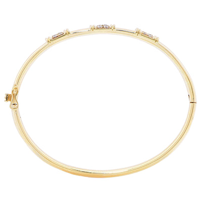 Ladies .55 Carat Diamond Yellow Gold Bangle Bracelet