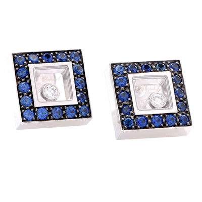 Chopard Happy Diamonds Sapphire and Diamond Square  White Gold Earrings
