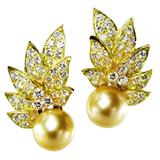 12  MM Golden South Sea Cultured Pearl Diamond Gold Ear Clips.