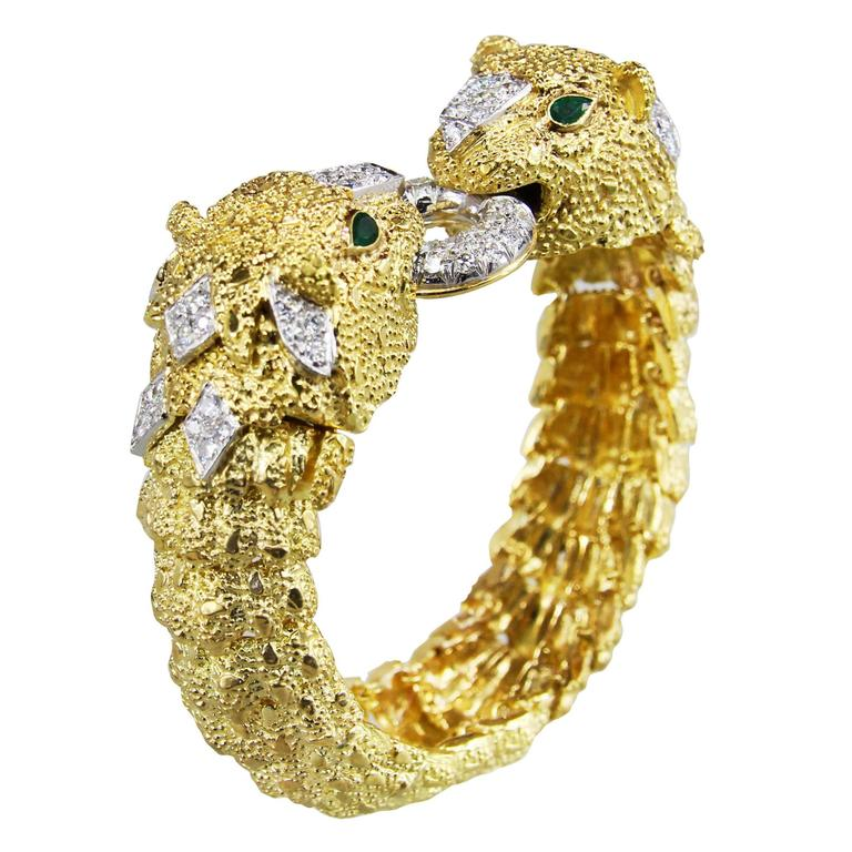 2.5 Carat Diamond Gold Panther Bracelet & Emerald Bead Section