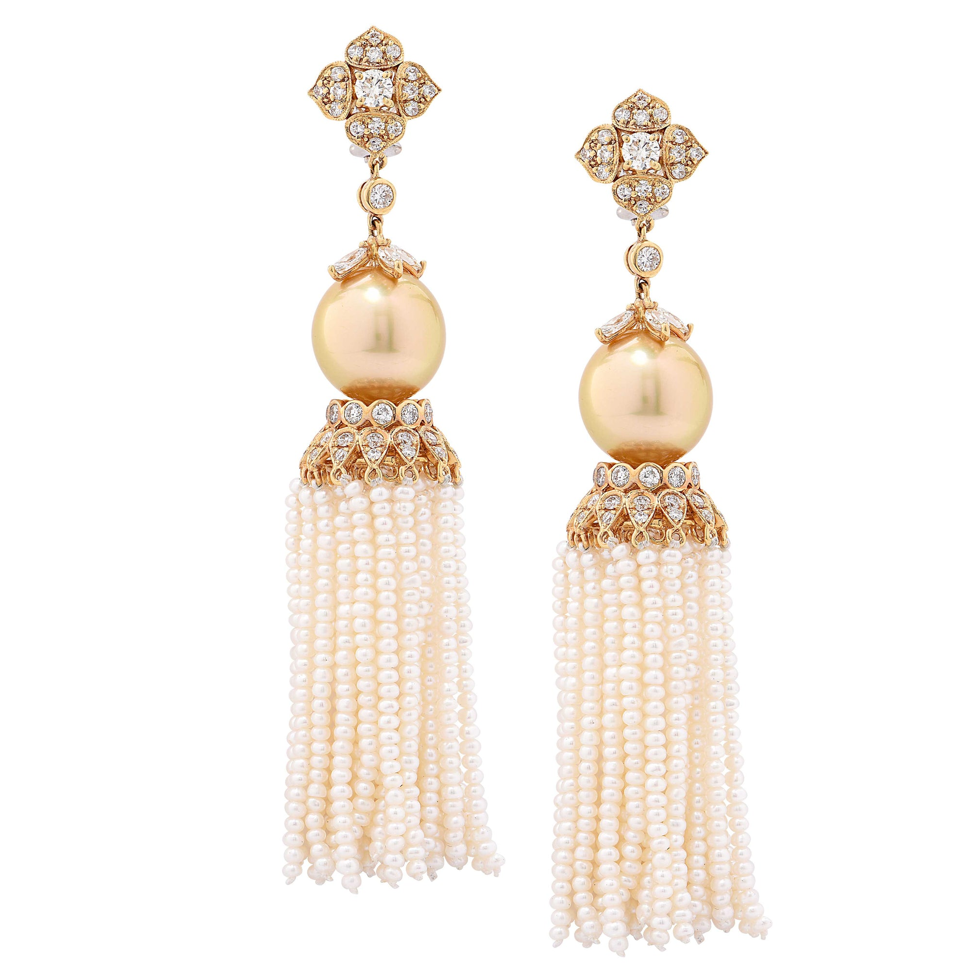 4.05 Carat Diamond and Golden South Sea Pearl Ear Clips with Removable Tassel