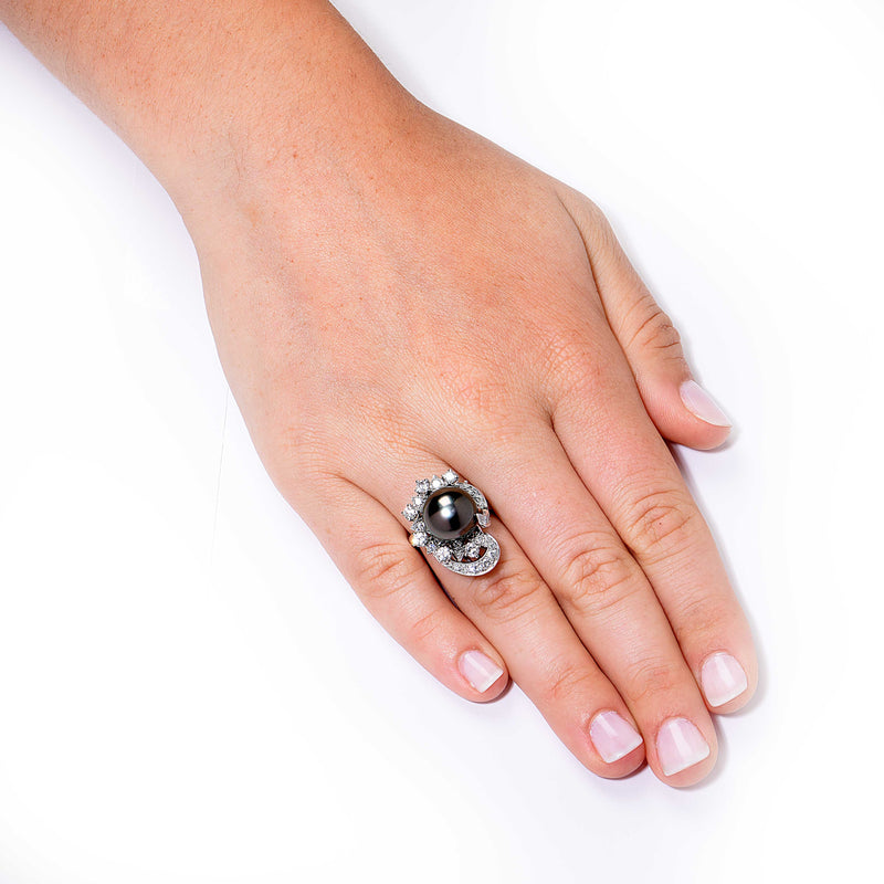 Tahitian Pearl Diamond White Gold Ring
