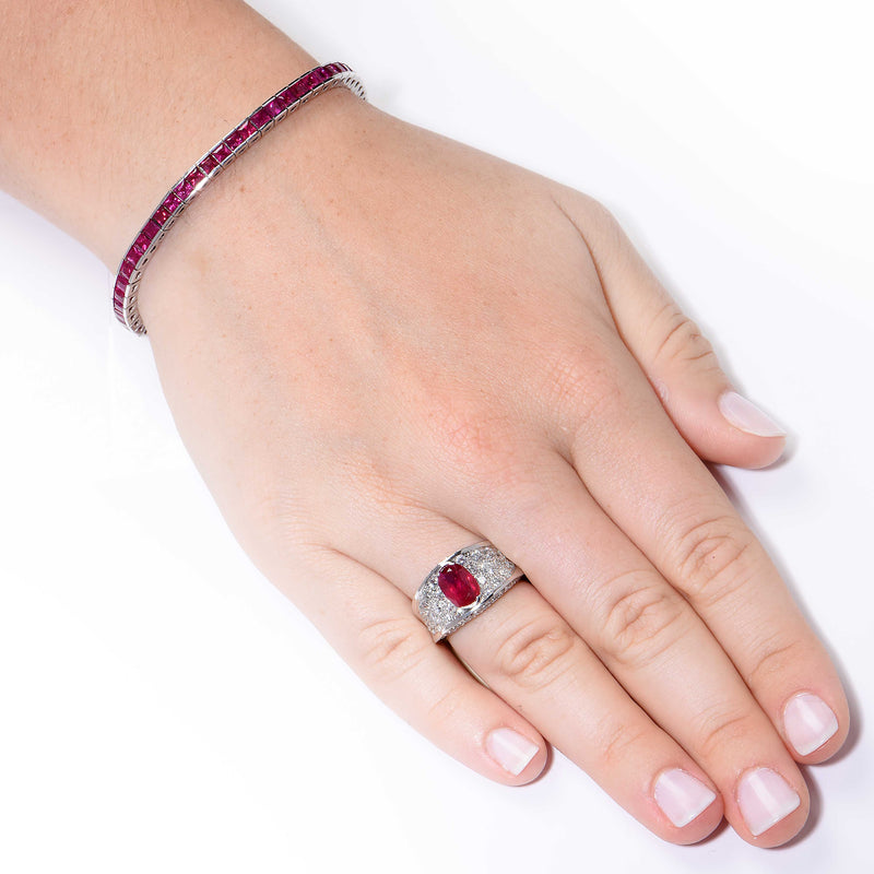 9.35 Carat Ruby White Gold Straight Line Bracelet
