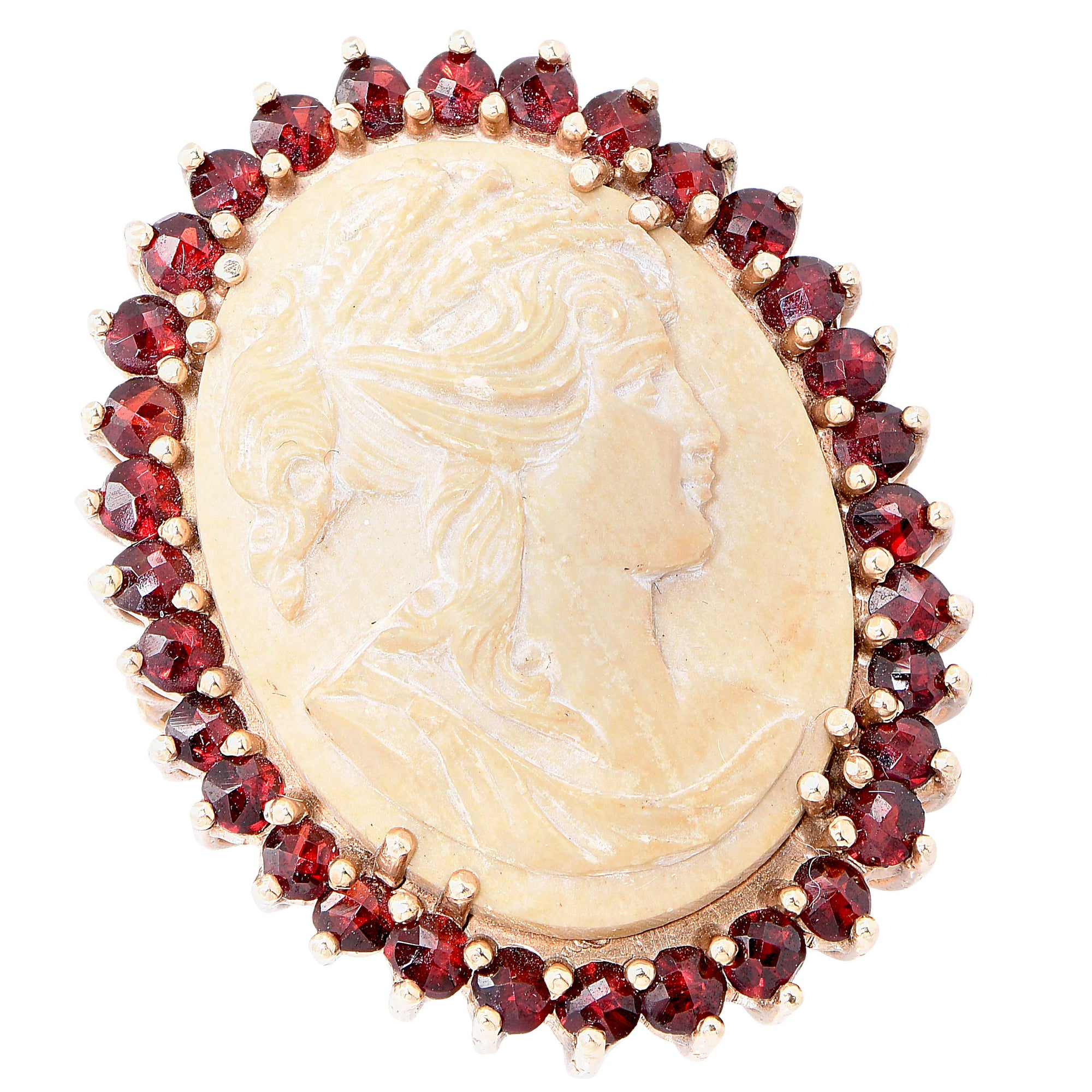 Lava Cameo and Garnet Gold Ring.