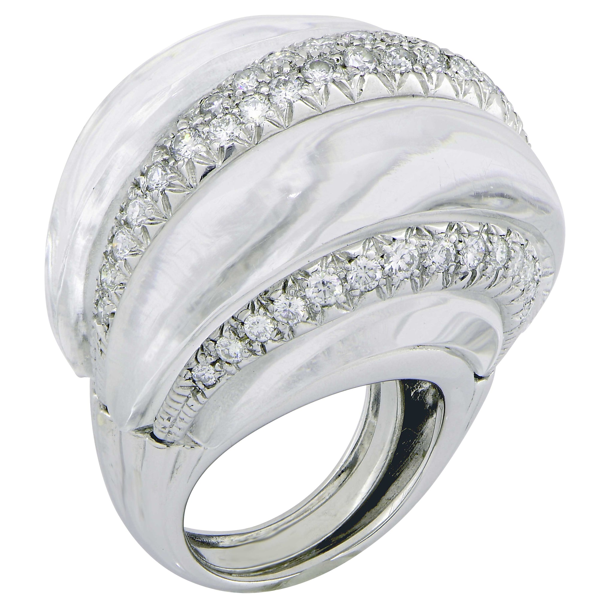 David Webb Rock Crystal and Diamond 18 Karat White Gold Ring