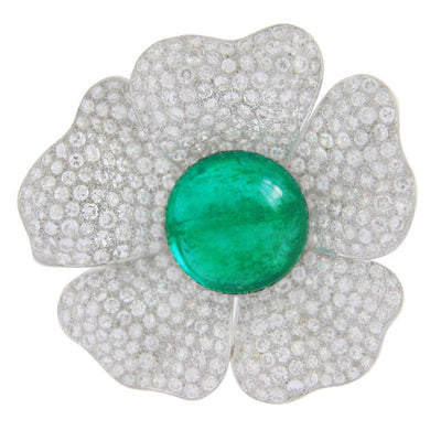 33.93 Carat Natural Cabochon Cut Emerald and 15 Carat Diamond Flower Brooch