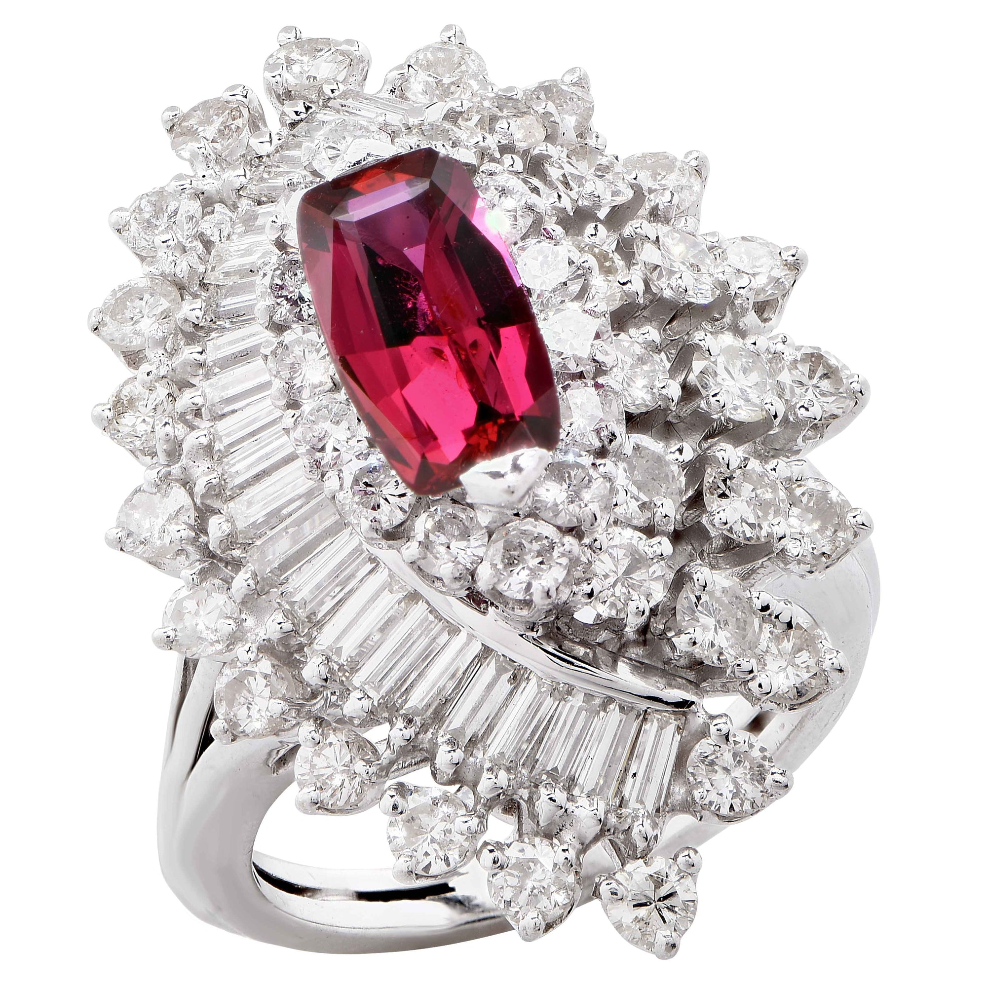 Red Spinel and Diamond Gold Ring