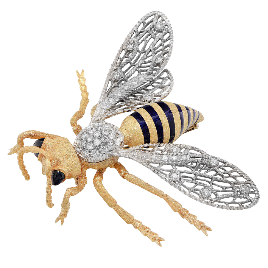 Large Buccellati Enamel Sapphire Diamond 18 Karat Yellow Gold Bee Brooch