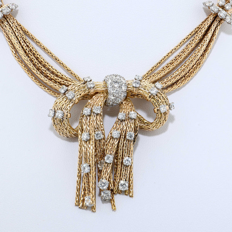 Raymond Yard Strand Diamond Necklace circa 1950 in 18 Karat Yellow Gold