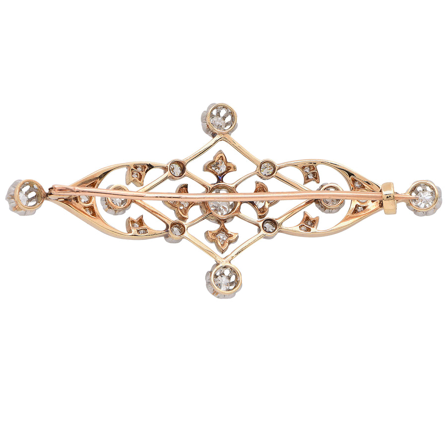Delicate Diamond Art Nouveau Brooch
