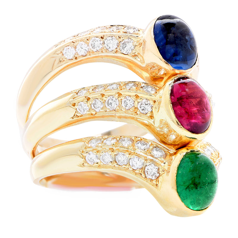 Triple Row Ruby Emerald Sapphire Diamond 18 Karat Yellow Gold Ring