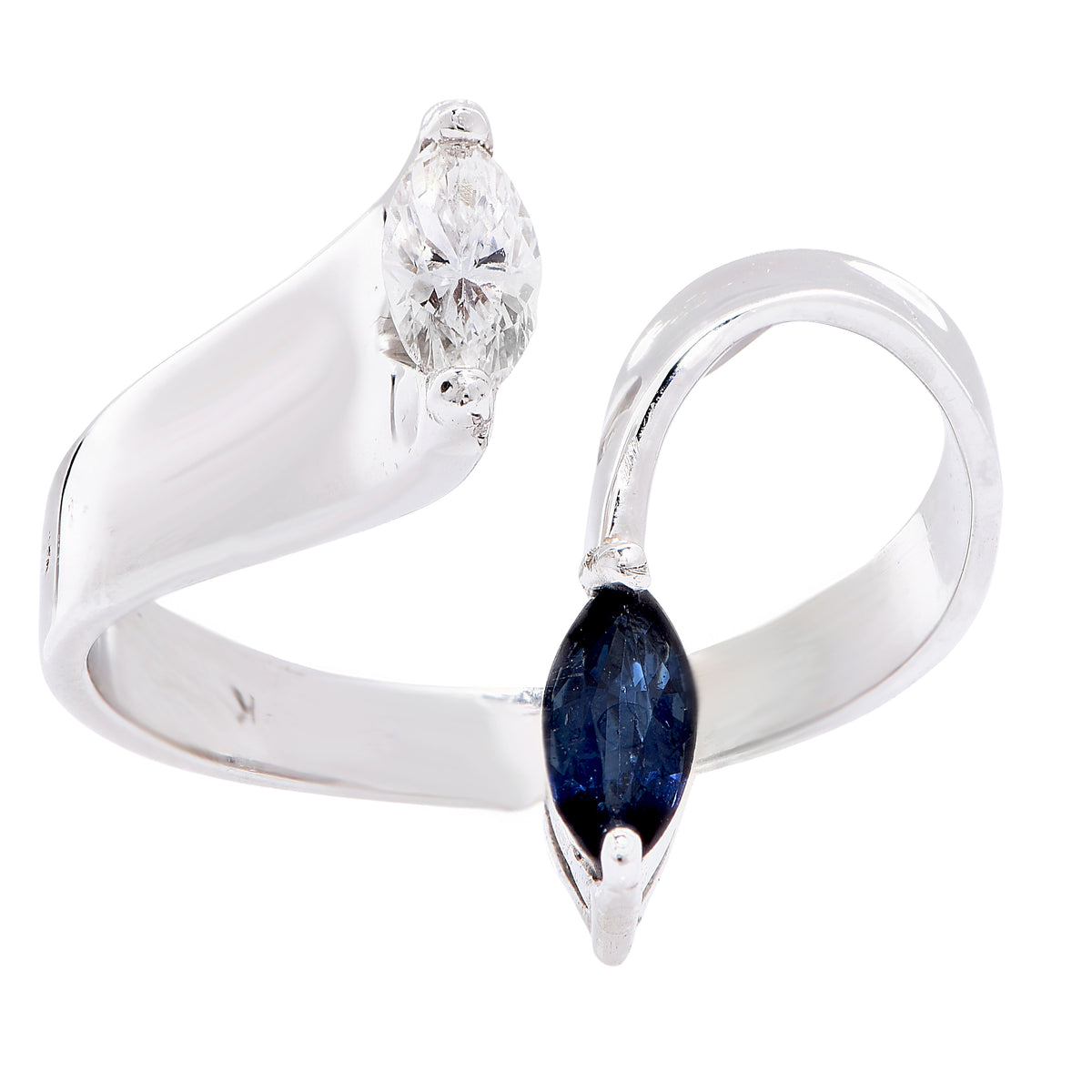 Ultra Modern Sapphire Diamond White Gold Ring