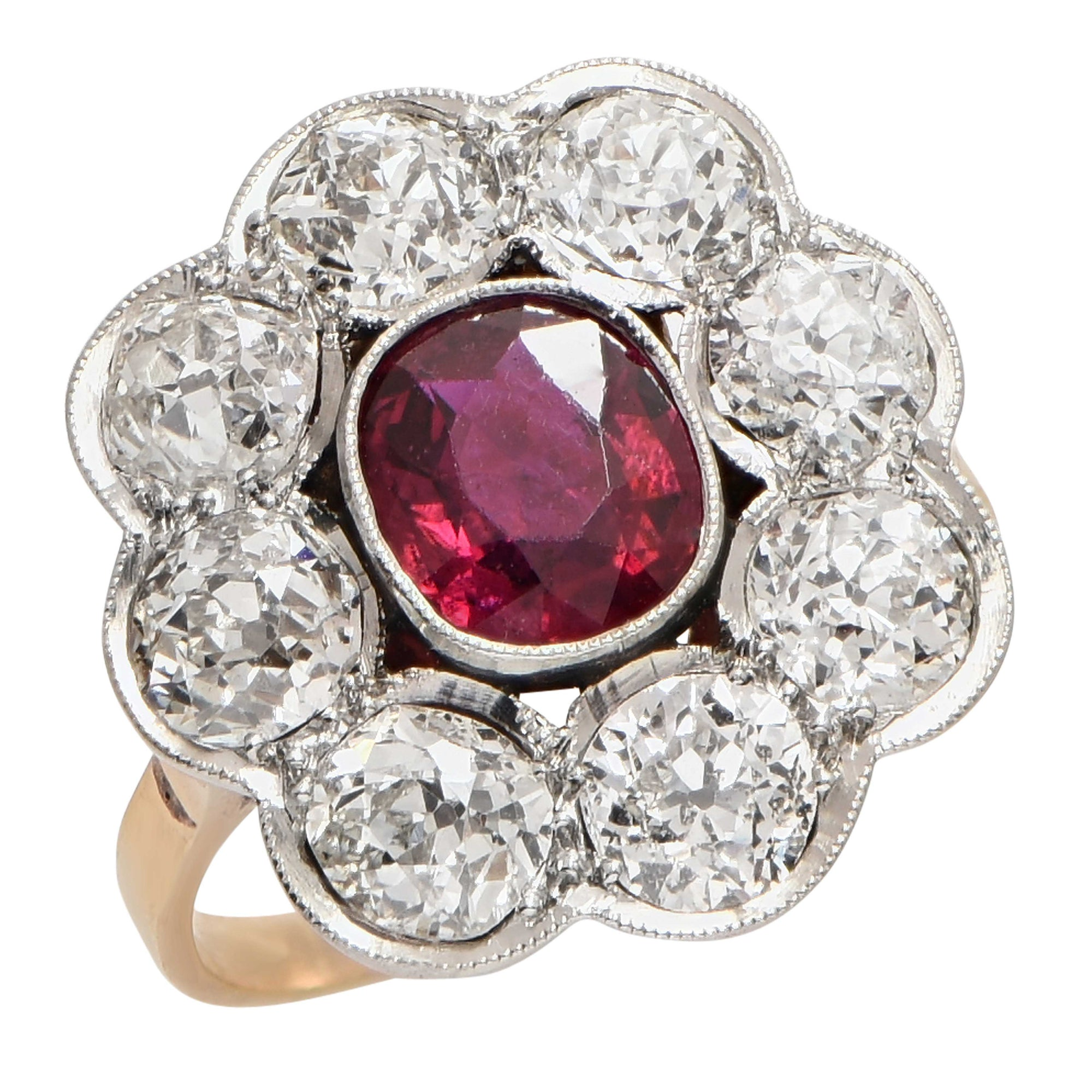 Rubellite Old Mine Cut Diamond Ring