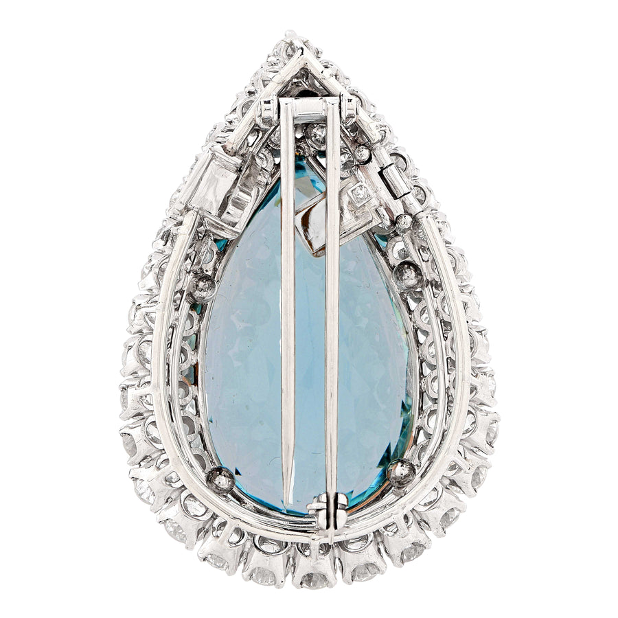 Aquamarine and Diamond Platinum Brooch