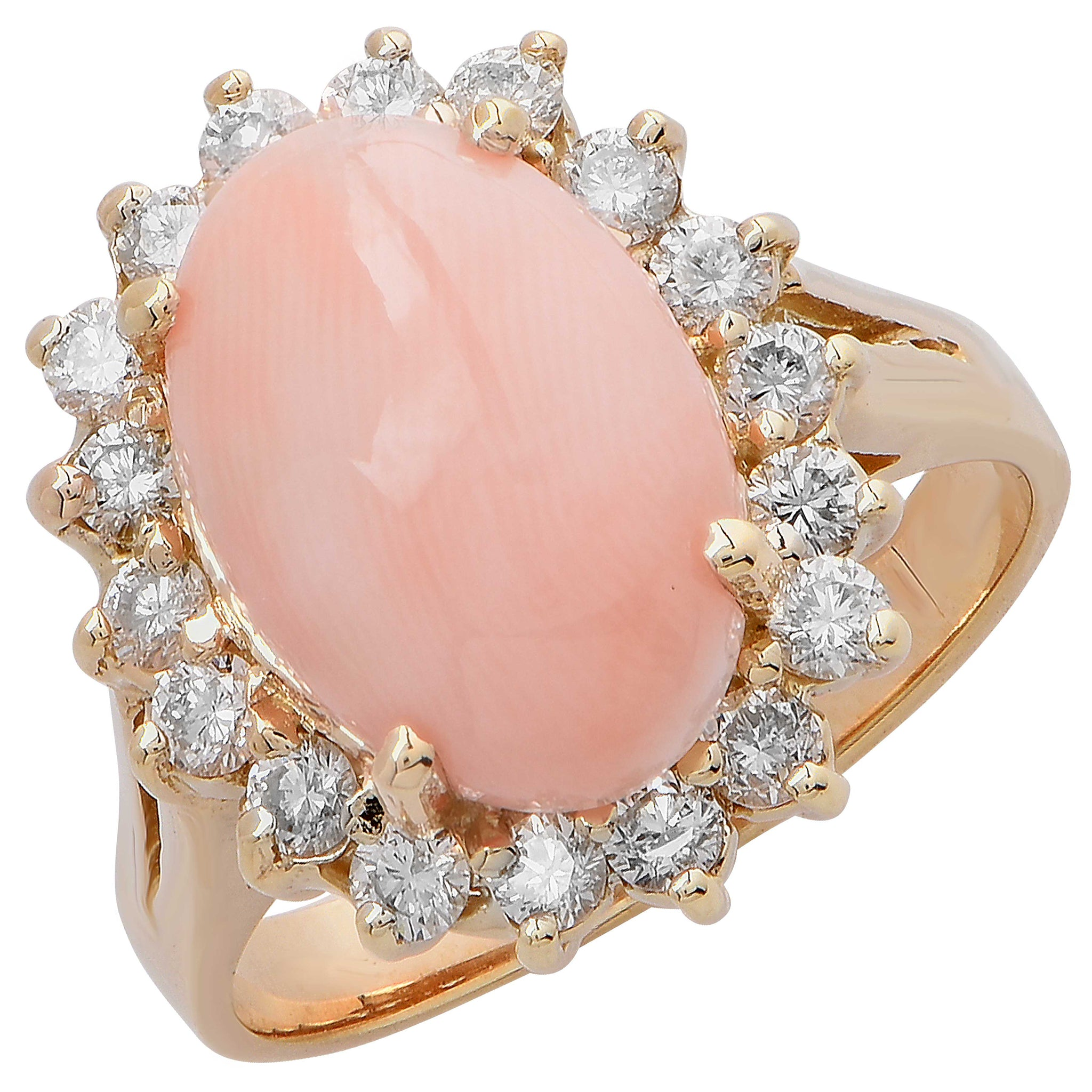 Angel Skin Coral and Diamond Ring - Regent Jewelers on Miracle Mile