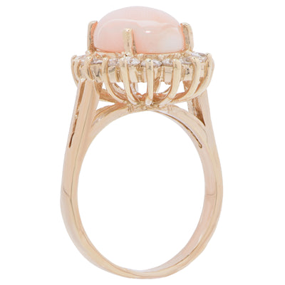 Angel Skin Coral and Diamond Ring