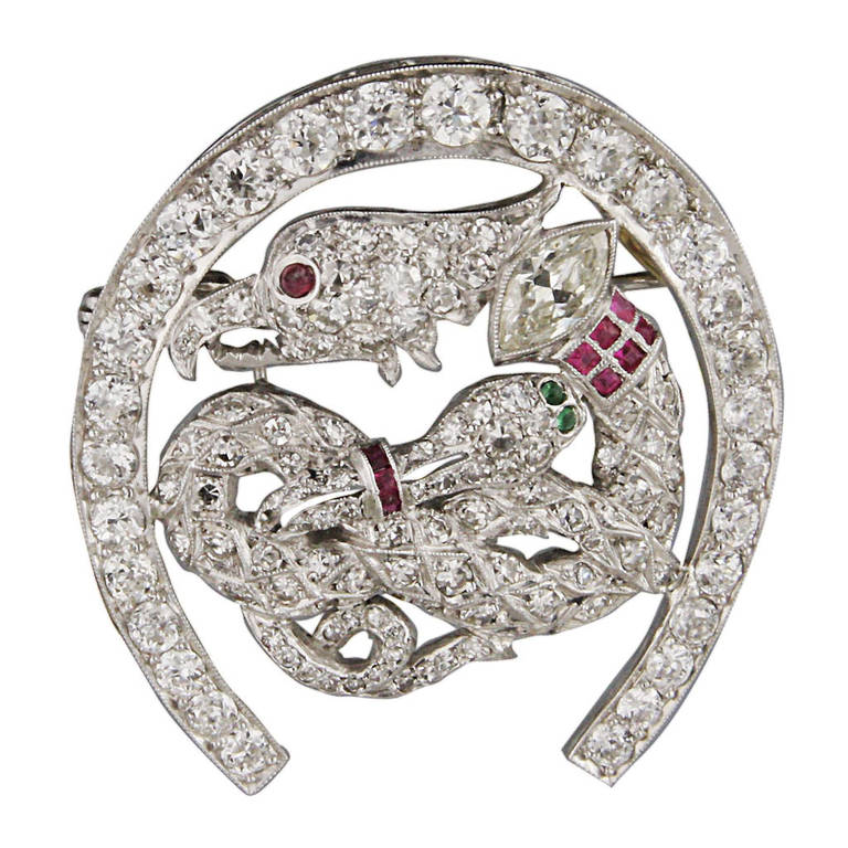 4.9 Carats Art Deco Ruby Emerald Diamond Platinum Brooch